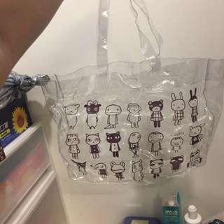 🚚 透明可愛塑膠購物包