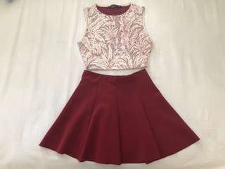 Pre loved zara top and skirt set of 2 size S