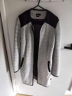 ASOS Coatigan Black and White Size 10