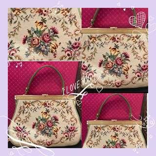 La Blanche Vintage Purse 、antique bag 古董手袋、復古袋、十字繡花、
