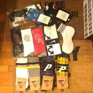 Palace / Assc / billionaire Boys Club/ Nike off white / hysteric glamour / Ripndip socks
