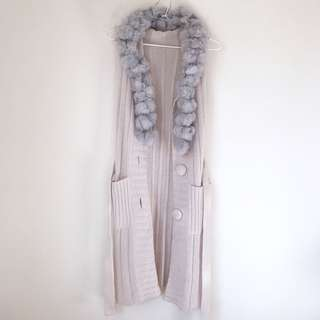 Fur scarf hooded knit Longline cardigan size XS-S