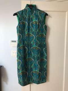 Mandarin collar green dress size s