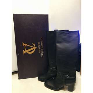 (New) VC Vince Camuto Signature Knee High Boots in Black EU 37 / 7M Vero Cuoio (Real Leather) (100% real and new)