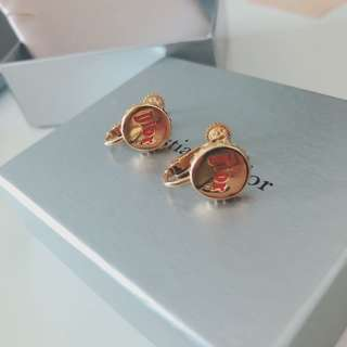 Dior logo金色瓶蓋耳環耳夾 gold logo beer cap clip earrings