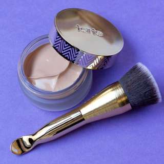tarte Empowered hybrid gel foundation and dual ended foundation brush & spatula
