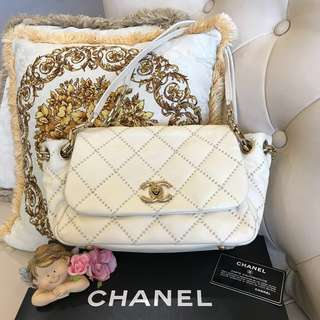 Authentic CHANEL Beige Quilted Leather Retro Chain Accordion Flap Bag
