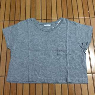 Grey croptop Pull & Bear