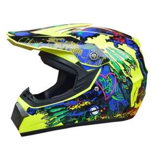 Yellow with Blue Green Designs Full Face Motorcycle Helmet Scrambler Motorcross Motocross Scrambler Off Road Dirt Bike