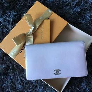 Chanel Authentic long zip wallet nude pink