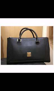 MCM black leather tote bag perfect for work