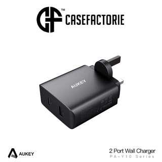 Aukey PA-Y10 2 Port USB-C Wall Charger With Power Delivery 3.0 + PowerAI