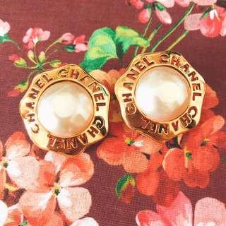 Vintage Chanel 巴洛克仿珍珠耳環耳夾 baroque faux pearl clip earrings