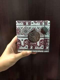 Notebook with Elephant Prints Hard Cover from Cambodia *free normal mail