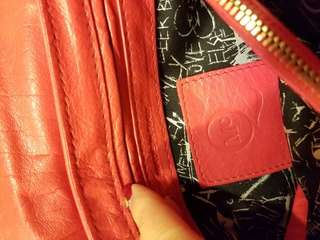 McQueen red leather bag
