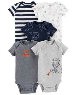 *6M Brand New Instock Carter's 5 Pc Short Sleeve Rompers Bodysuits Onesies Set Boys