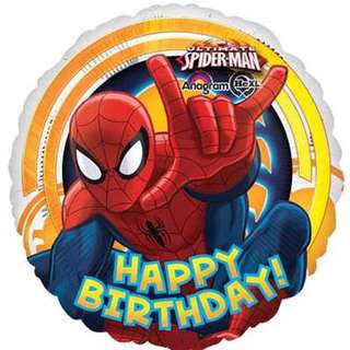 18 Inch Spiderman Happy Birthday Balloon with Helium and Weight