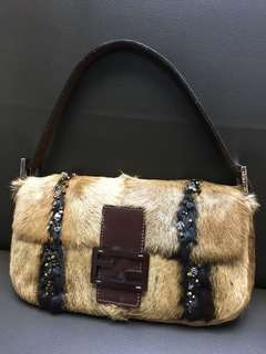 Fendi baguette fur bag