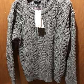 🚚 MOBO 粗針緹織寬鬆針織上衣 灰色L號