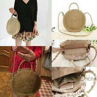 Vintage Straw Rattan Handbag with sling