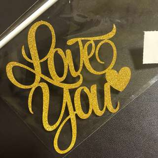 (Ins) Love you with Heart Cake Topper in Gold