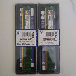 Kingston 2X2 GB PC2-6400 CL6 240-Pin Ram