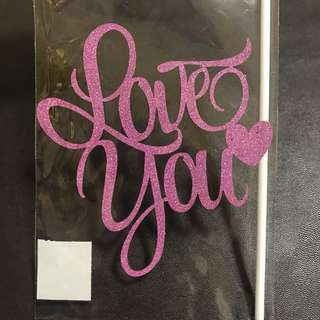 (Ins) Love you with heart Cake Topper in Pink