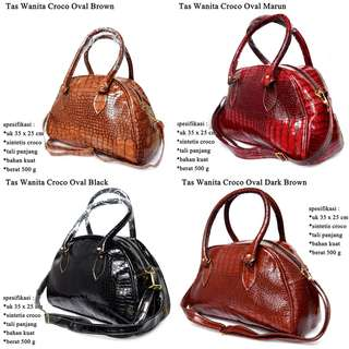 Tas Selempang Croco Oval Dark Brown