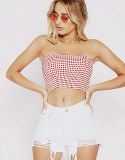 Brand New Red Gingham Bandeau Crop Top Tiger Mist/Princess Polly