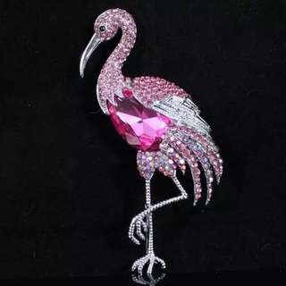 Austrian Rhinestones Crystal Flamingo Bird Brooch Pin from US 奧地利水晶萊茵石閃石火烈鳥 雀鳥 雀仔 胸針 襟針 別針 心口針