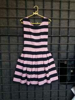Mini Dress Stripe Black Pink