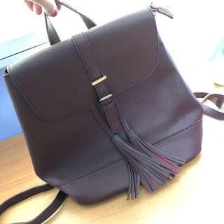 Maroon Leather Tassle Backpck
