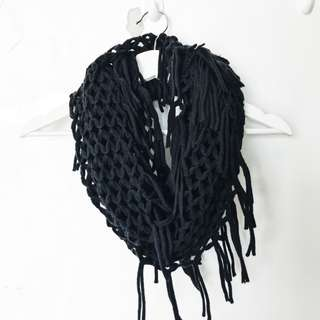 Black Net Fringed Scarf