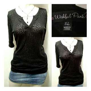 SALE preloved black small animal print see through shirt