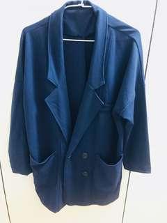 🚚 深藍色西裝休閒外套(僅穿過一次)