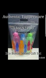 Authentic Tupperware  Eco Bottle 500ml Gift Set (3) Retail Price S$25.50 Now S$24.00 /set