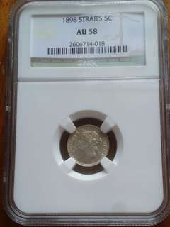 1898 Graded AUG Straits 5 Cents