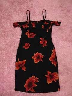 Sabrina black & red floral off shoulder dress