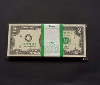 美金 TWO DOLLARS   100 pcs