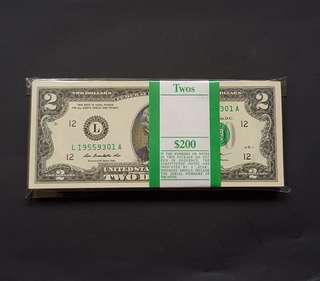 美金 TWO DOLLARS  100pcs