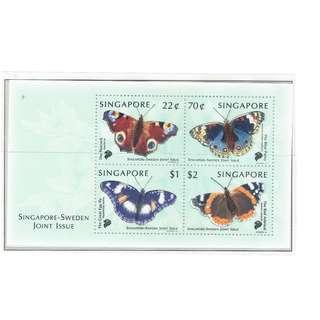 1999 07  Miniature Sheet  Singapore Sweden Joint Issue  --  BUTTERFLIES