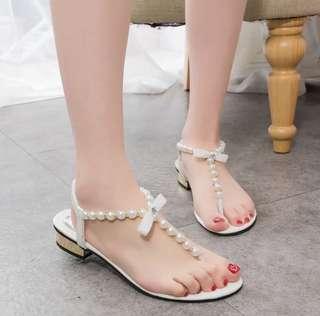 🚚 🌸超美珍珠鑽石蝴蝶結夾腳羅馬涼鞋