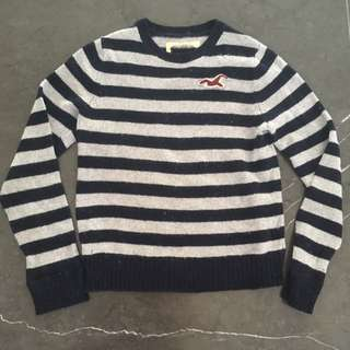 [Abercrombie] Striped Navy Blue And Grey Knit Top