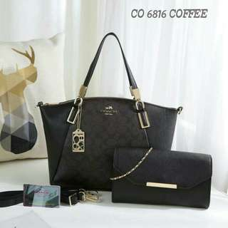 Coach Tote Bag 2 in 1 Black Color