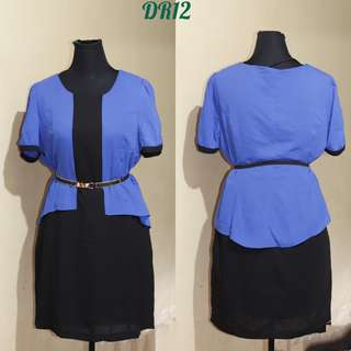 BLACK WITH BLUE OFFICE DRESS