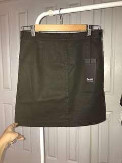 Bardot Denim Black Skirt with Side Zip & Button - Size 12