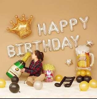 Happy Birthday Decoration Party Set -Champagne celebration