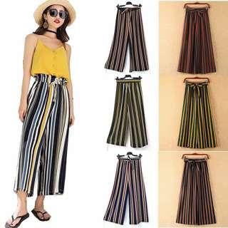 Korean high waist belt stripe long pants