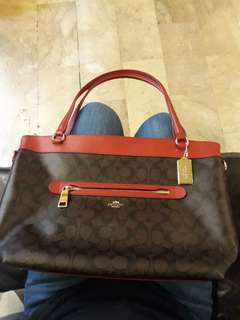 Brand New coach bag Signature Tyler Tote (true brown & red)