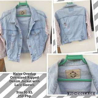 Naive Overlap Oversized Ripped Denim Jacket (Lace Sleeves)